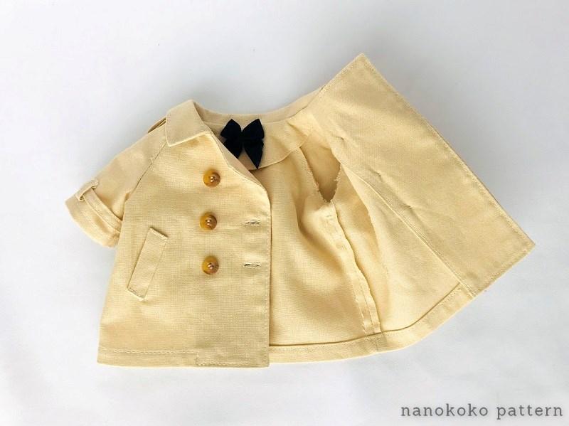 メルちゃんやソランちゃんサイズの衿付きコートの作り方と型紙