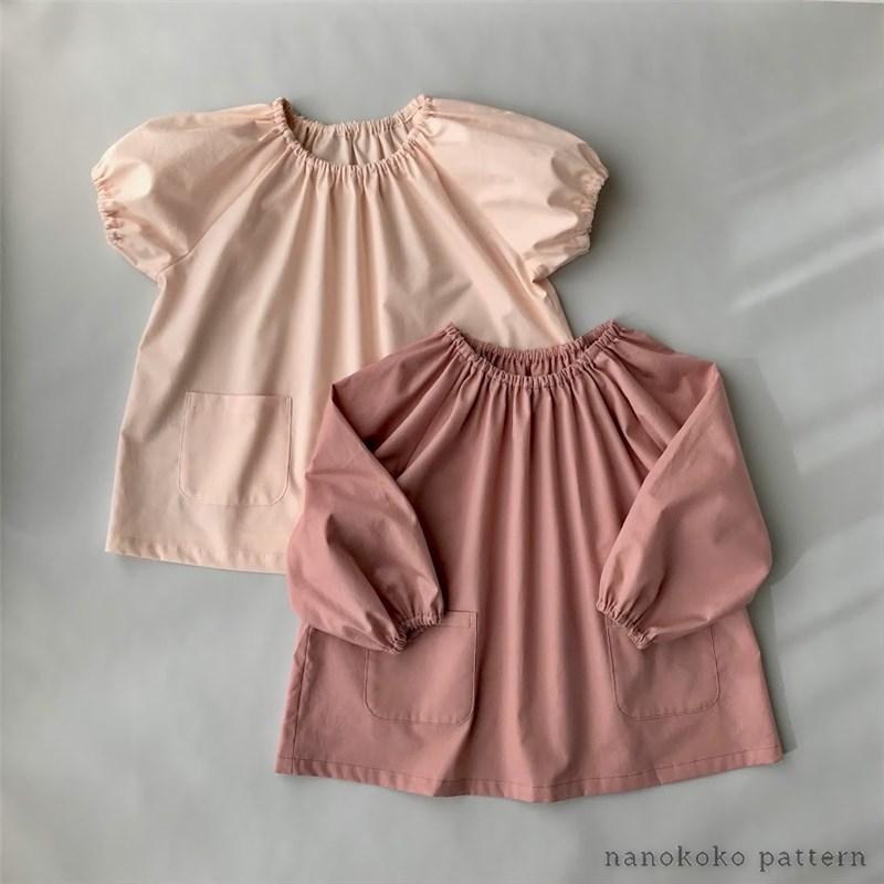 子どもスモックの無料型紙ダウンロードと作り方~半袖と長袖
