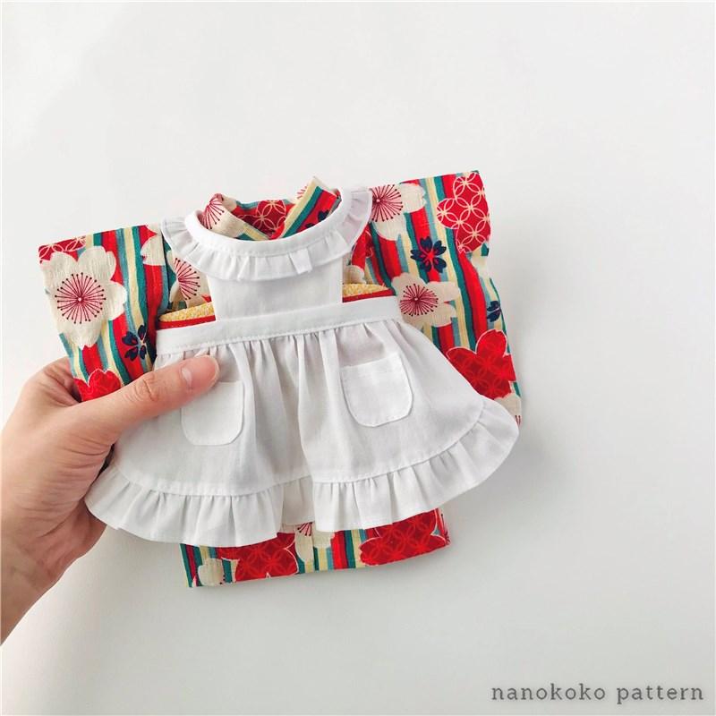 メルちゃんソランちゃんサイズの着物用エプロンの型紙