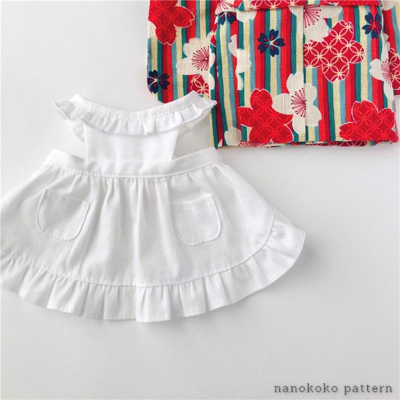 メルちゃんソランちゃんサイズの着物用エプロンの型紙と作り方