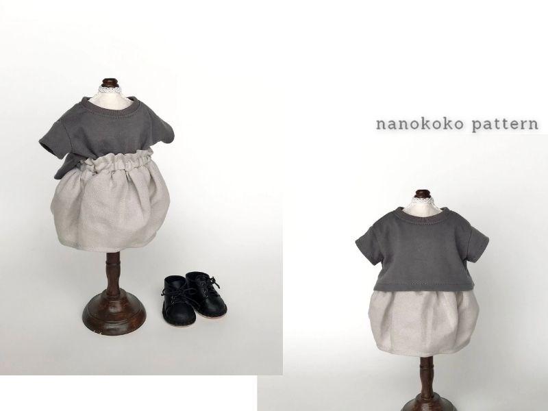 メルちゃんやソランちゃんサイズ「コクーンスカート」のコーディネート