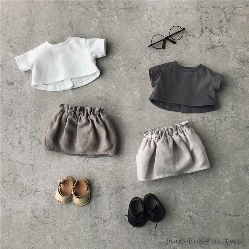 メルちゃんやソランちゃんサイズのドール服「ゆるTシャツ」の型紙