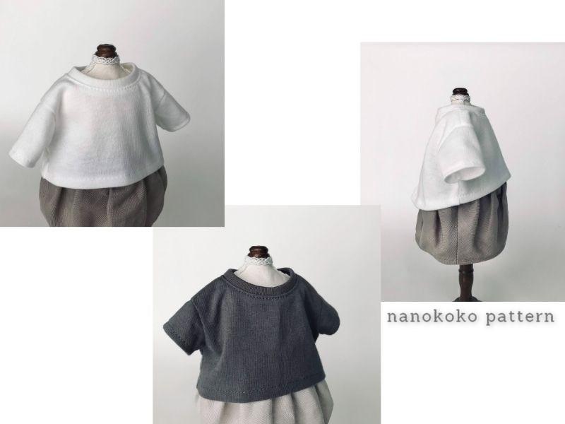 メルちゃんやソランちゃんサイズのドール服「ゆるTシャツ」のシルエット