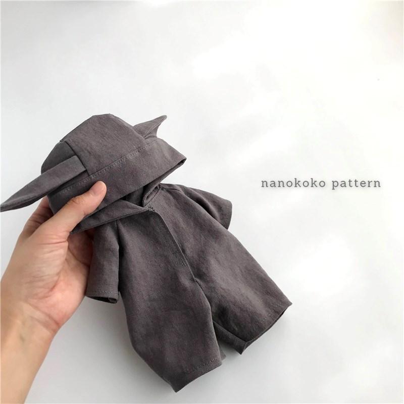 メルちゃんソランちゃんサイズのうさぎカバーオールの作り方と型紙